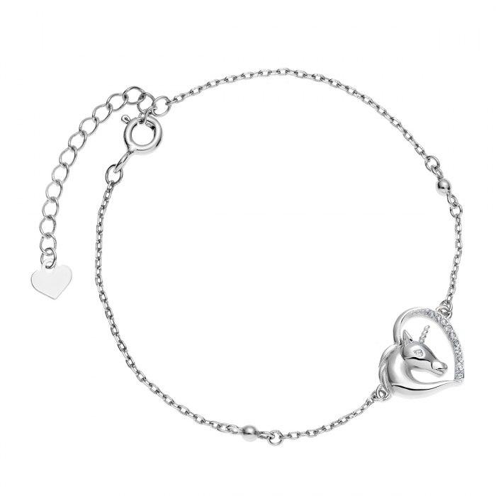 Srebrna bransoletka serce jednorożec crystal