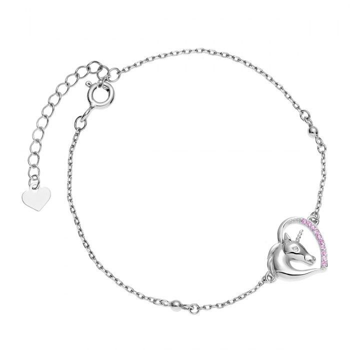Srebrna bransoletka serce jednorożec różowy