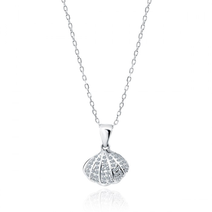 Srebrny naszyjnik muszla z perłą + pudełko