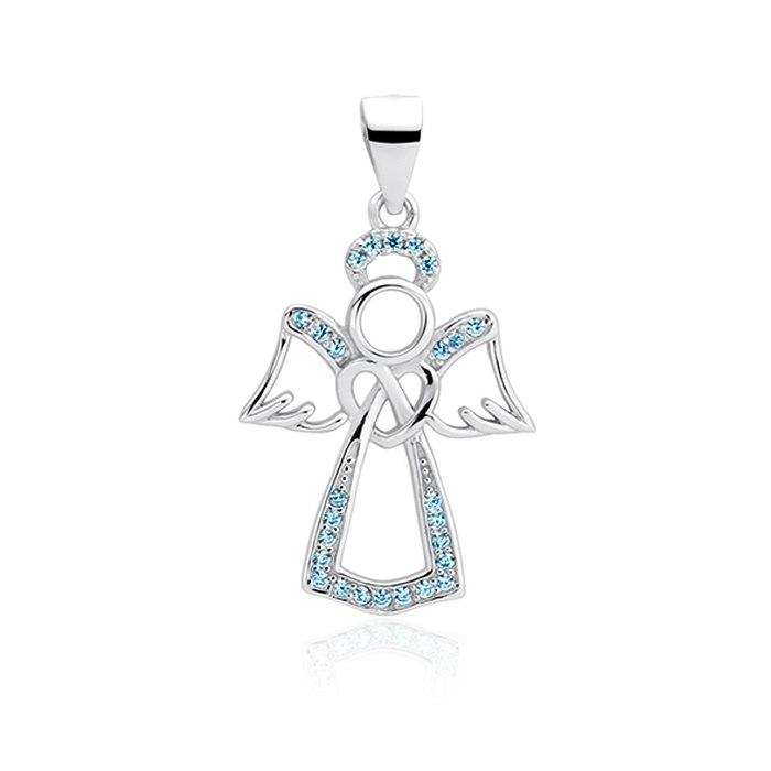 Srebrny wisiorek aniołek anioł cyrkonie błękitny