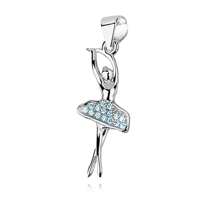 Srebrny wisiorek baletnica niebieskie cyrkonie