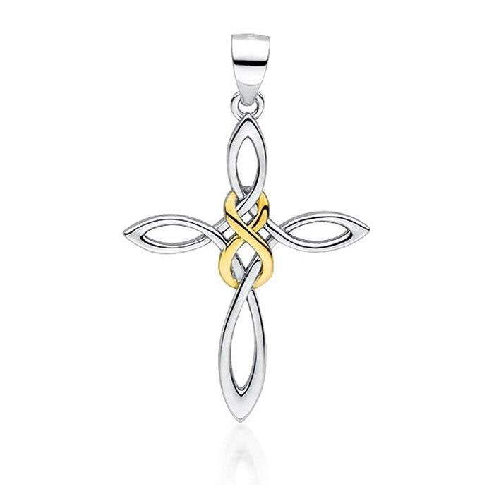 Srebrny wisiorek pleciony krzyż nieskończoność