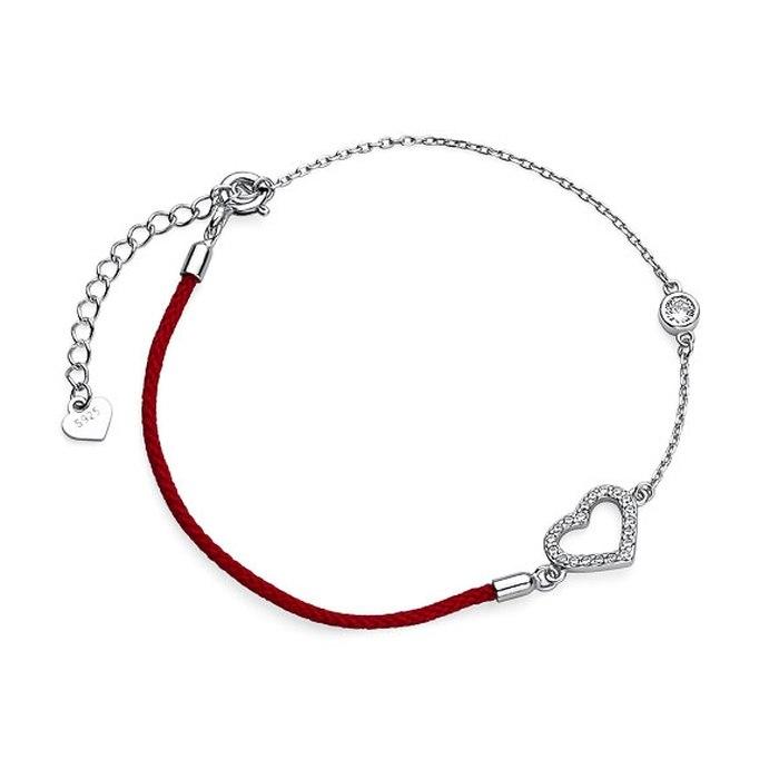 Srebrna bransoletka serduszko czerwony sznurek