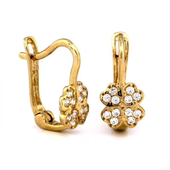 Złote 585 kolczyki czterolitna koniczynka cyrkonie