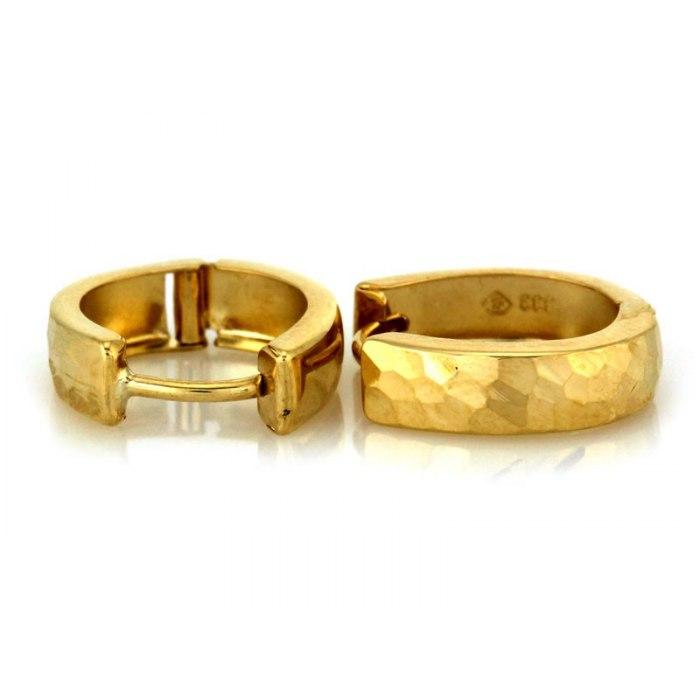 Złote 333 owalne kolczyki diamentowane 2