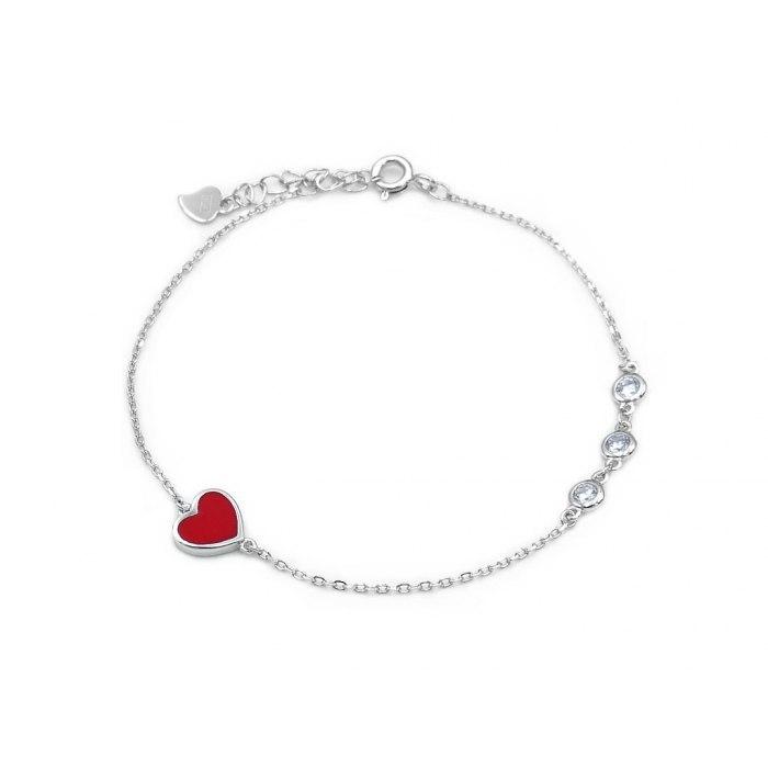 Srebrna bransoletka czerwone serce cyrkonie