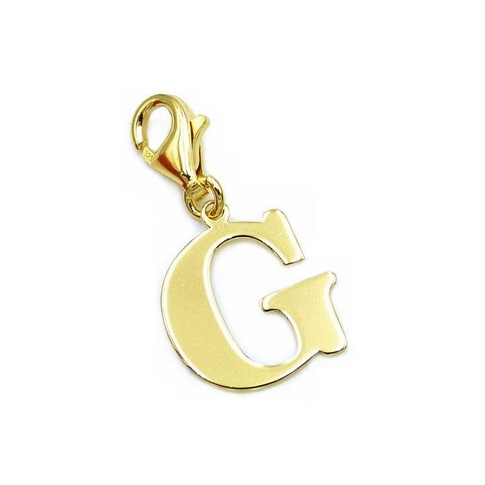 Pozłacany charms przywieszka literka G