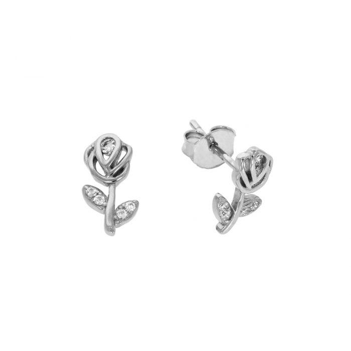 Srebrne kolczyki kwiaty róża cyrkoniami