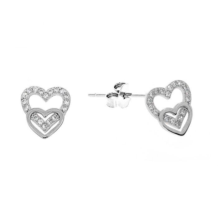 Srebrne kolczyki podwójne serce z cyrkoniami