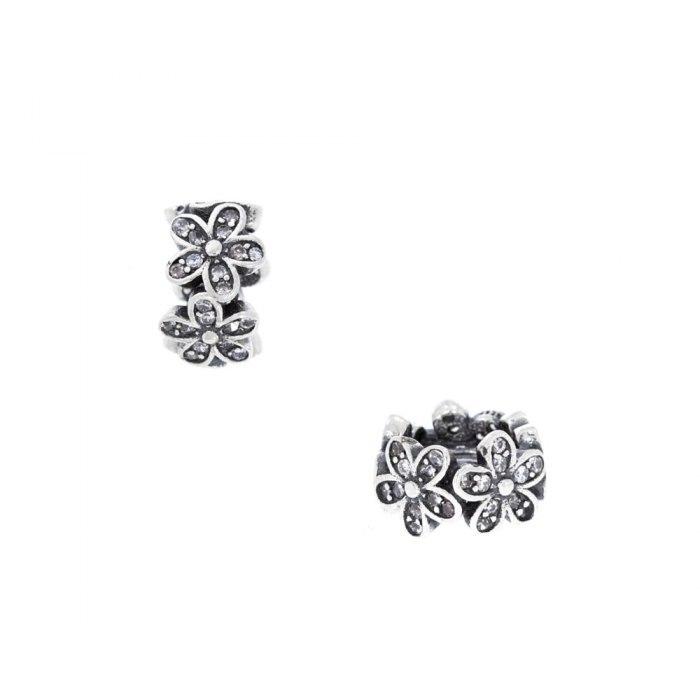 Srebrny koralik modułowy Beads kwiatuszki