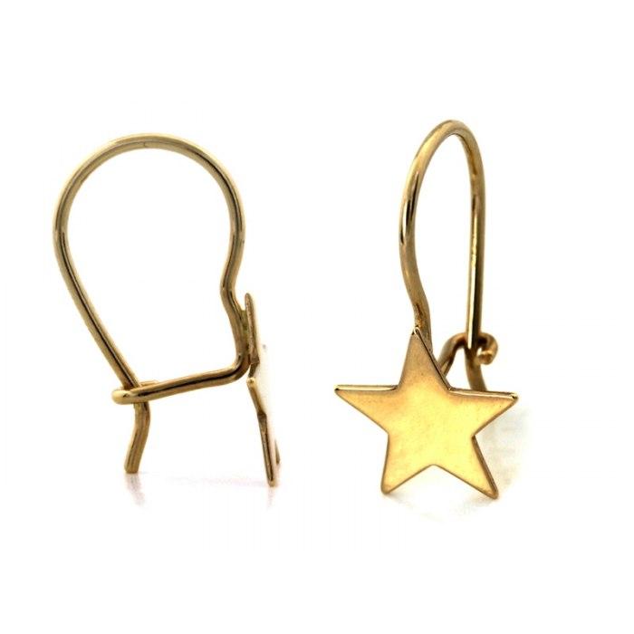Złote kolczyki 585 gwiazdki gwiazdy