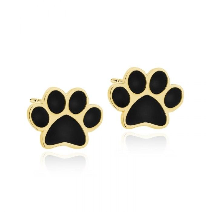 Pozłacane kolczyki emaliowane czarne łapki psa kota