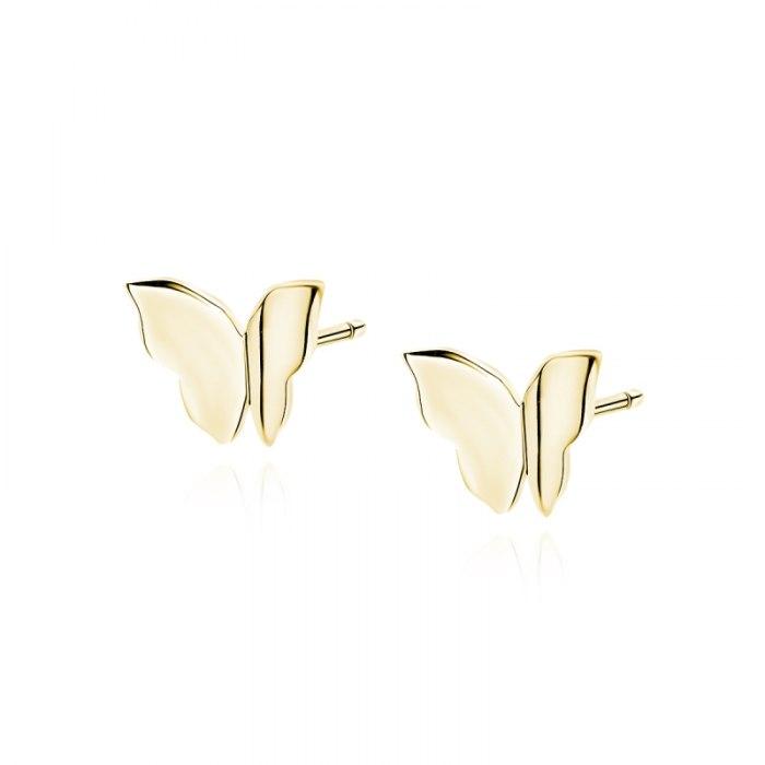 Srebrne kolczyki motylki z zagiętymi skrzydełkami
