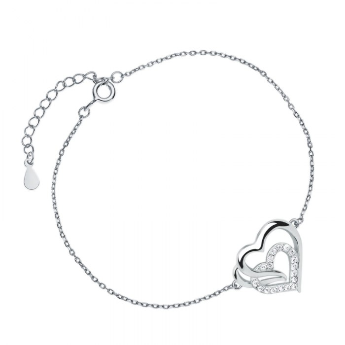 Srebrna bransoletka podwójne serce