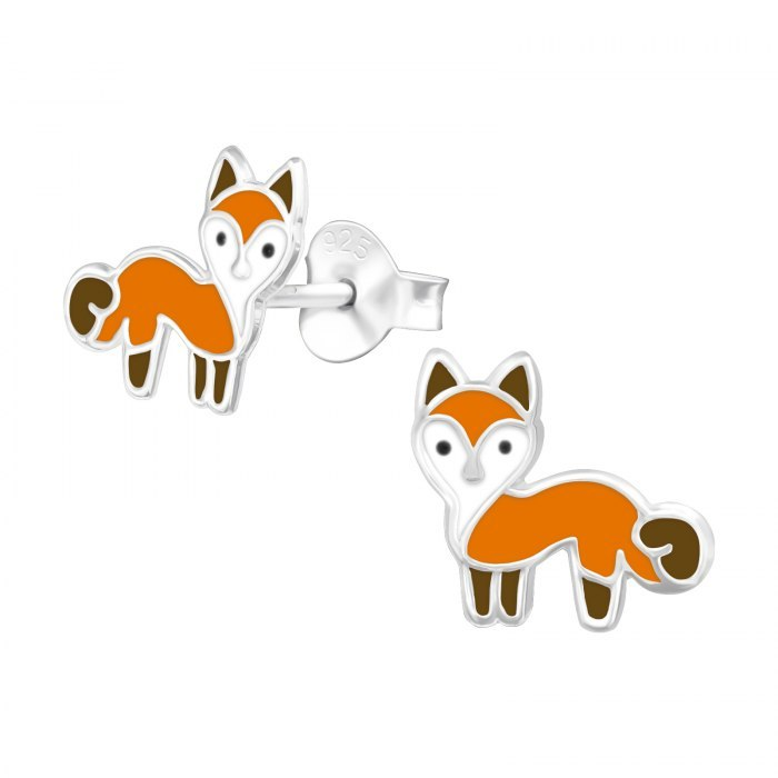 Srebrne emaliowane kolczyki rude liski lis