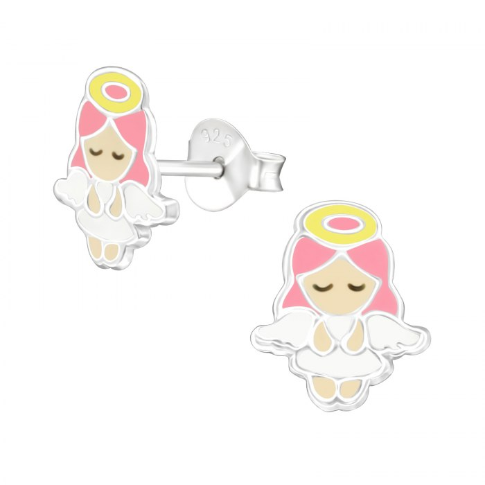 Srebrne emaliowane kolczyki aniołek dzieczynka