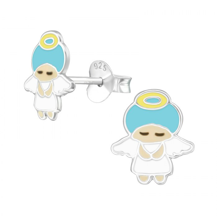 Srebrne emaliowane kolczyki aniołek