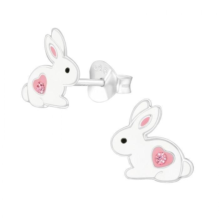 Srebrne emaliowane królik serca cyrkonie