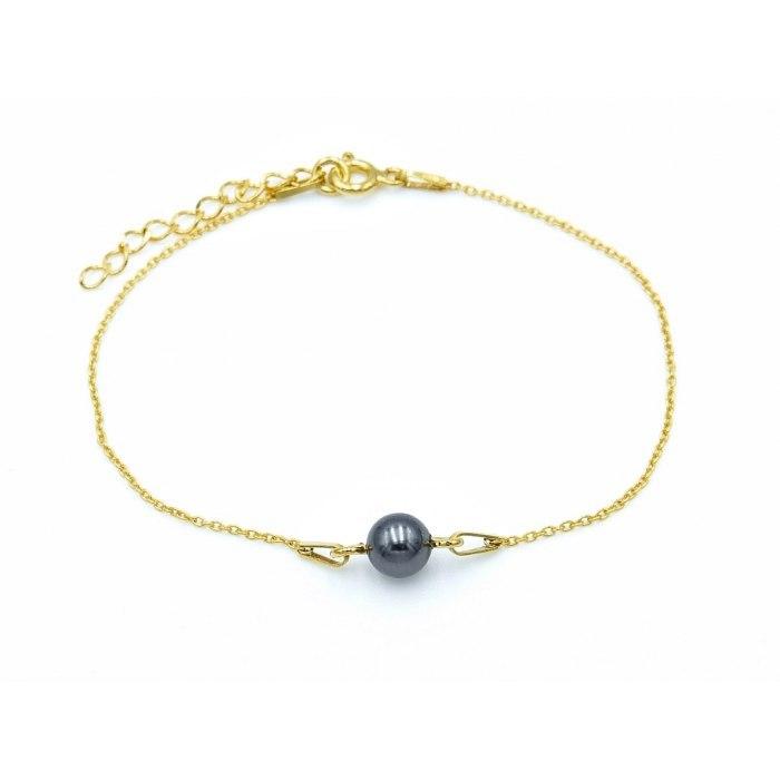Pozłacana bransoletka z czarną naturalną perłą 5,5mm