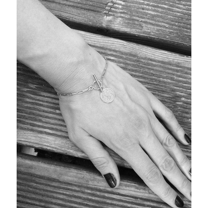 Gruba srebrna bransoletka góry + pudełko