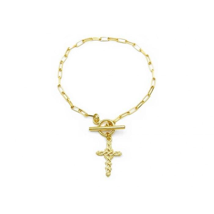 Gruba pozłacana bransoletka krzyż + pudełko