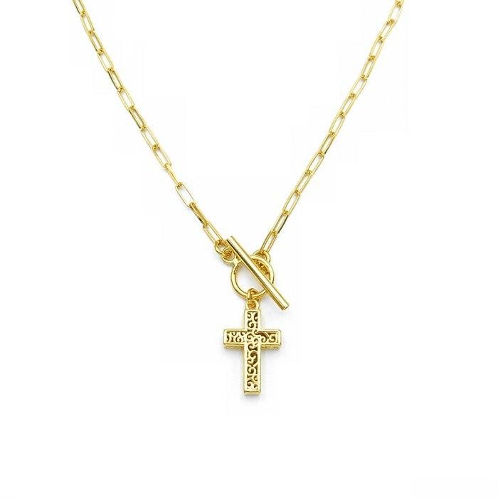 Pozłacany naszyjnik łańcuch krzyż + pudełko