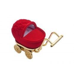 Welurowy wózek - czerwony