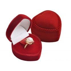 Welurowe opakowanie pudełko serce - czerwone