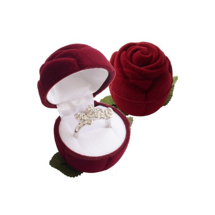 Welurowe opakowanie pudełko bordowa róża
