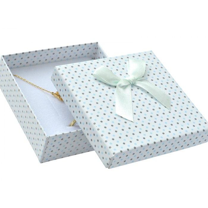 Pudełko opakowanie 8x8 kropki duża kokarda