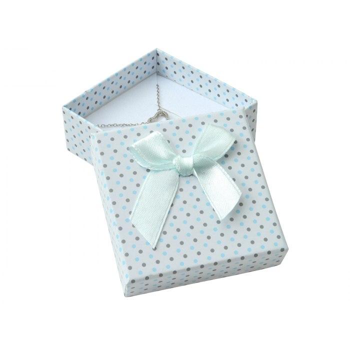 Pudełko opakowanie 6x6 kropki duża kokarda