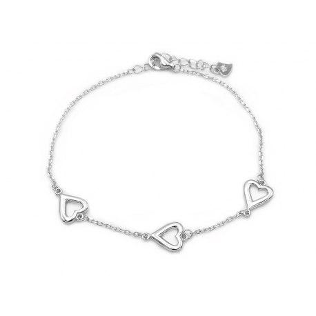 Srebrna bransoletka trzy serca