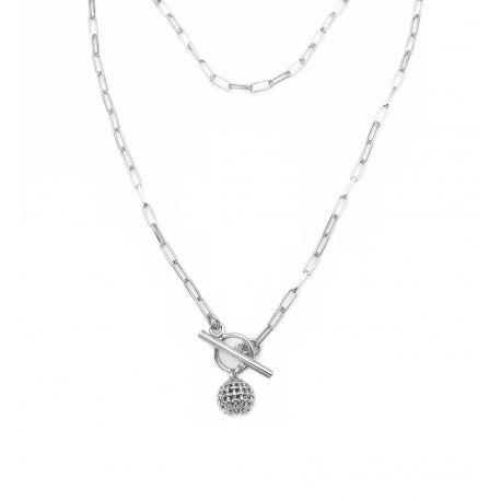 Srebrny naszyjnik 50cm łańcuch kulka + pudełko