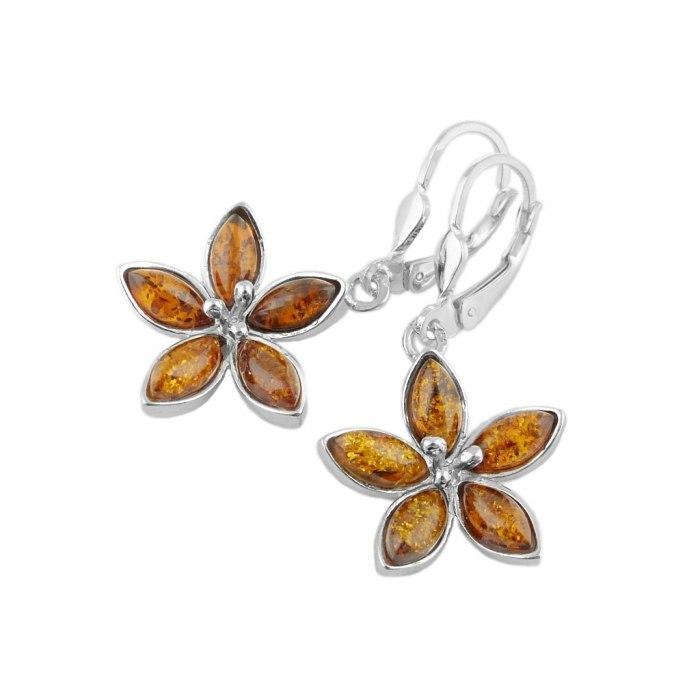 Srebrne kolczyki kwiaty z bursztynem