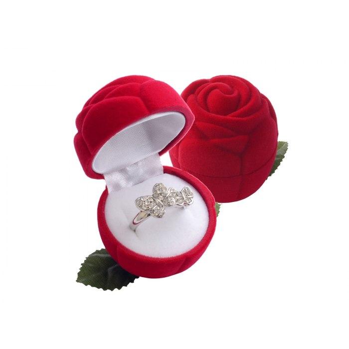 Welurowe opakowanie pudełko czerwona róża