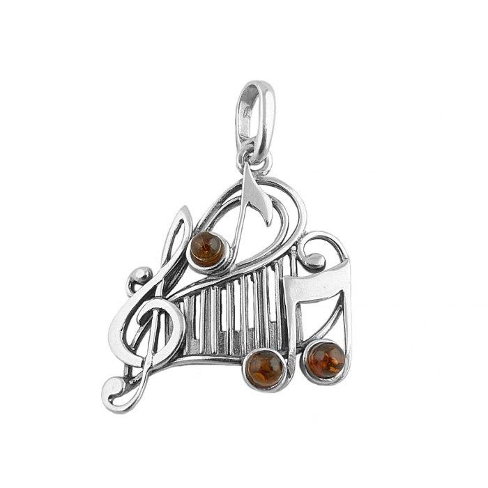 Wisiorek klucz wiolinowy z bursztynem