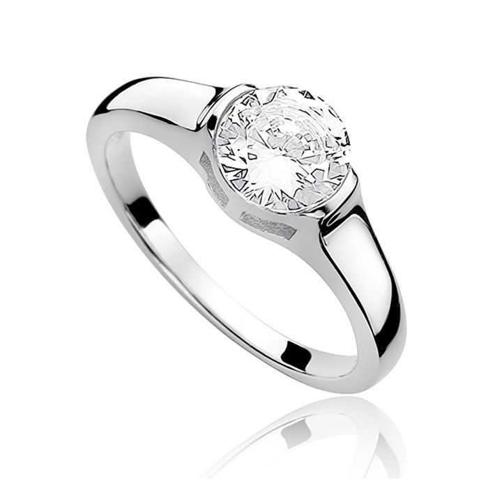 Srebrny zaręczynowy pierścionek duża cyrkonia