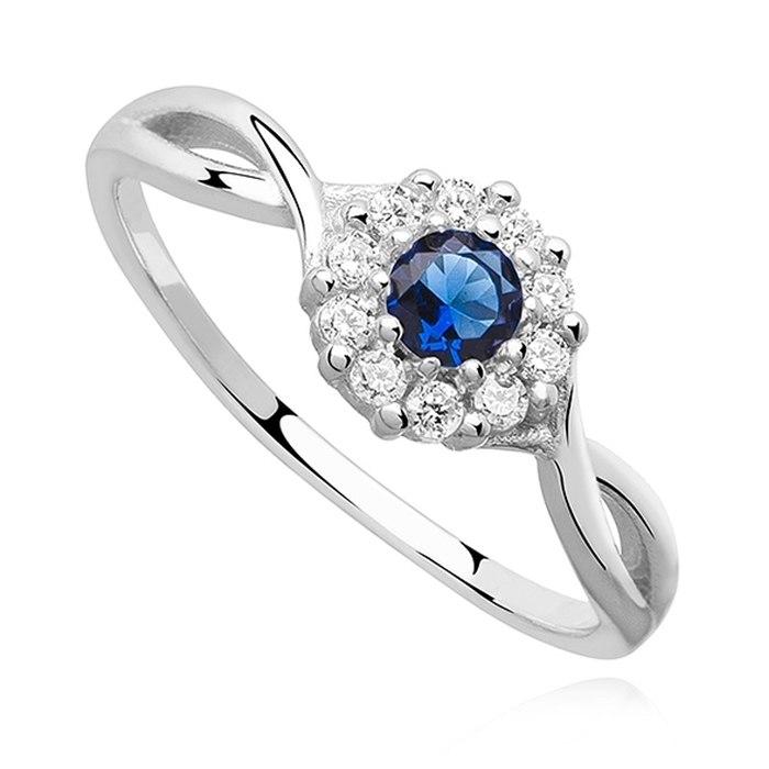 Srebrny zaręczynowy pierścionek szafirowa cyrkonia