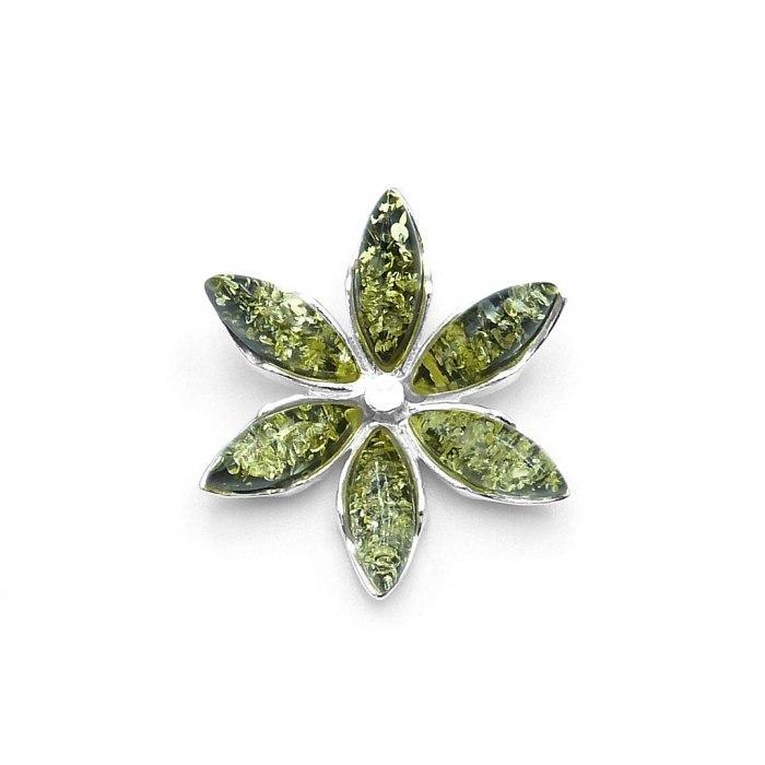Srebrny wisiorek kwiat z zielonymi bursztynami