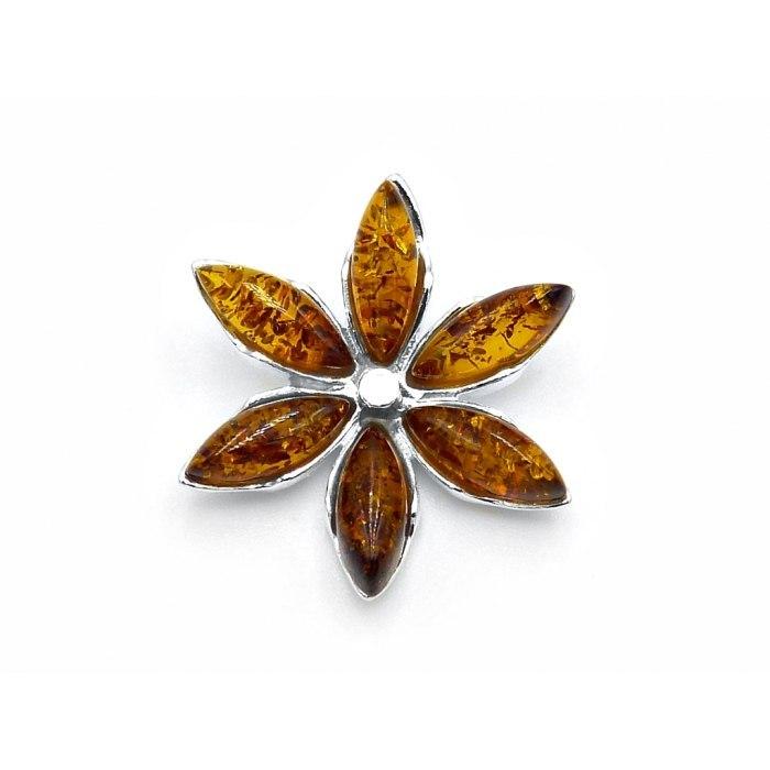 Srebrny wisiorek kwiat z bursztynami