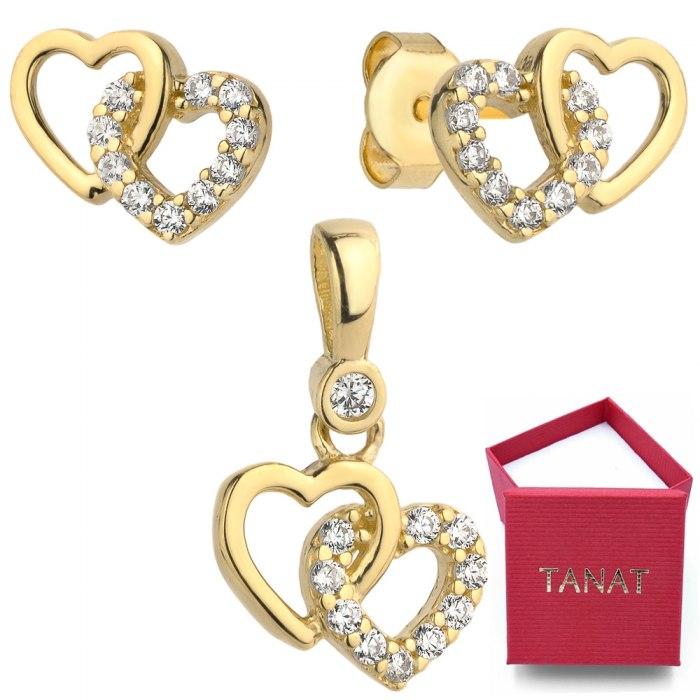 Złoty 585 komplet dwa serca cyrkonie pudełko