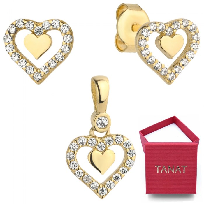 Złoty 585 komplet podwójne serce cyrkonie pudełko