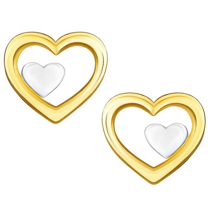 Złote kolczyki 585 gładkie serduszka serca
