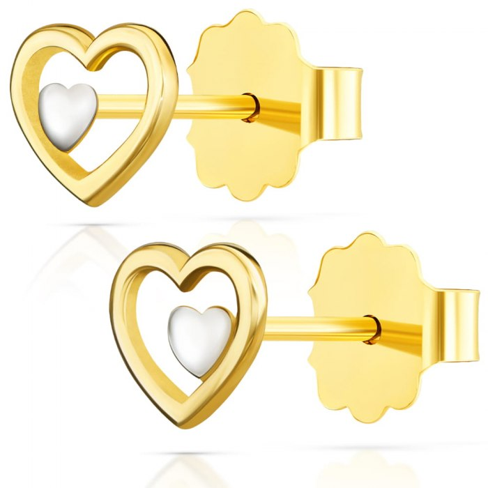 Złote kolczyki 585 serduszka serca + pudełko
