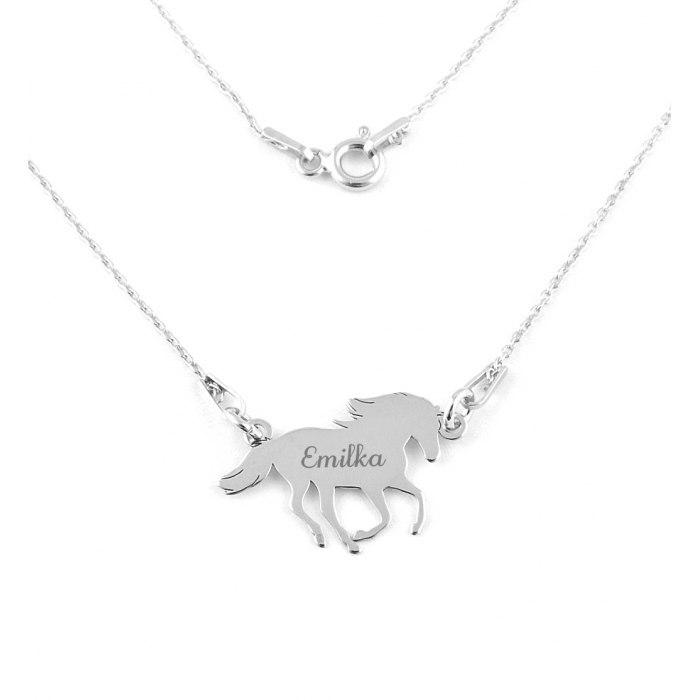 Srebrny naszyjnik koń ogier grawer