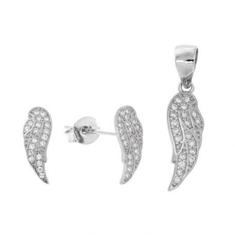 Srebrny komplet pełne skrzydła cyrkonie