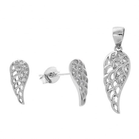 Srebrny komplet pełne ażur skrzydła cyrkonie