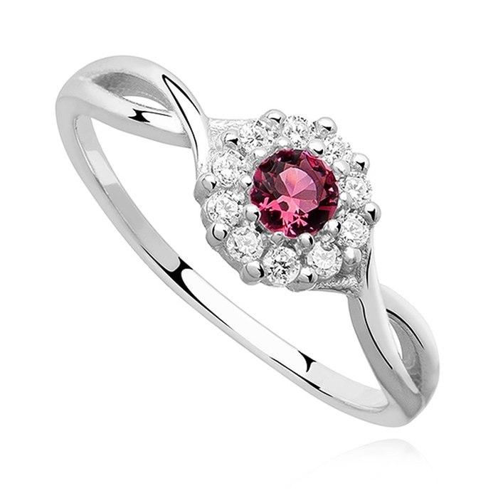 Srebrny zaręczynowy pierścionek rubinowa cyrkonia