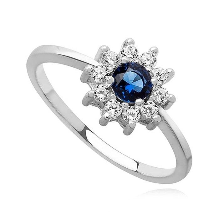 Srebrny zaręczynowy pierścionek szafirowa cyrkonia 2