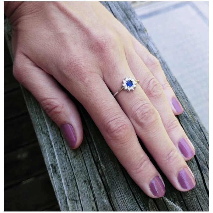 Srebrny pierścionek szafirowa cyrkonia 2